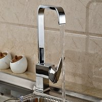 Wholesale And Retail Modern Square Chrome Brass Kitchen Faucet Swivel Spout  Vanity Sink Mixer Tap Hot And Cold Water