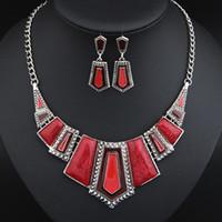 Wholesale Silver Bib Jewelry - Vintage Jewelry Silver Plated Enamel Geometric Pendant Necklace Earrings Set Bib Statement Jewelry Set for Women T105