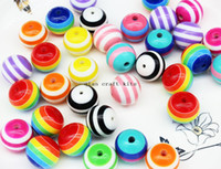 Wholesale Wholesale Bubble Gum Necklaces - 100pcs STRIPED Beads 20mm Beads Chunky Necklace Beads Round Beads Resin Beads 10ct Bubblegum Beads Bubble gum Gumball