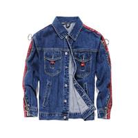Wholesale Modern Jacket Men - Autumn Fashion Designer Mens Jackets Ribbon Spliced Zippers Sleeve Modern Denim Jackets Men High Street Brand Jacket Men Coats