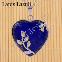 Wholesale Lapis Heart Pendant - Red Agate Lapis Lazuli Blue Sand Natural Gem Stone Heart Silver Plated Rose Flower Reiki Pendant Charms Amulet Classic Jewelry Gift 10pcs