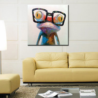 Wholesale Morden Wall Painting - Happy Frog Wearing Glasses - Cartoon Animal Hand-painted Oil Painting on Canvas Morden Abstract Wall Art Home Decoration