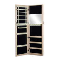 Wholesale Wooden Jewelry Armoire Cabinet Organizer with Mirror Locking Wall Mount Door Mount Jewelry Chest Oak Color