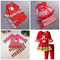 jungen santa hosen großhandel-Mew Baby Boy Weihnachten Kostüm Kinder Langarm Santa Claus Rock + gestreifte Hose 2pcs Set Baby Jungen Baumwolle Weihnachten Kleidung 4 Stil Top Quali