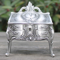 Wholesale Pewter Jewelry Boxes - 2016 New arrival vintage metal jewelry box with delicate pattern  Retro pewter plated trinket box  gift box for wedding