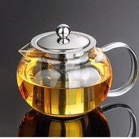 Wholesale Chinese Glass Teapots - High quality Heat Resistant Glass Tea Pot,Chinese Flower Tea Set Puer Kettle Coffee Teapot Convenient With Infuser Office Home