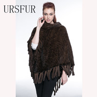 Wholesale Mink Fur Capes - Warm Winter Fur Scarves Real Mink Fur Knit Poncho Shawl Cape Women Fur Knitted Pashmina with Tassel 2017 Autumn Vest Wraps
