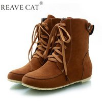 Wholesale Green Wedge Boots Women - 2015 New arrival Autumn boots Winter Shoes woman Ankle boots Ladies wedges boots Lace up Flock Solid Black Brown Beige Green Hot