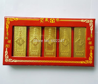 All'ingrosso-fortunato cinese Feng Shui Gold Bar, artigianali in metallo monete all'ingrosso, all'ingrosso Cina Gold Bar, 6pcs / lot