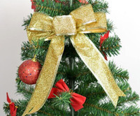 Wholesale Crafts Glitter Ribbon - High Quality Glitter Organza Ribbon Bow Christmas Tree Decoration Gift Decor Craft Christmas Decoration For Home China Decoration Christmas