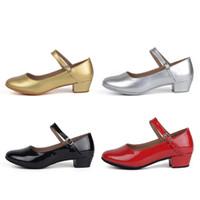 zapatos de salón tacón bajo al por mayor-Movefun Niños Salón de Baile Tango Zapatos de Baile Latino para Niñas Niños Mujeres zapatos de baile negros Tacones bajos Zapatos de Baile Cuadrados Modernos A-0485