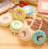 organic headphones - Creative Headphone storage box cartoon earphone case Necklace Jewelry bag hard Case round Coin Pouch Mini Coin Box Purses Candy Box A164
