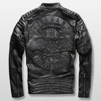Wholesale mandarin collar leather jacket - harley motorcycle rider jacket mens leather jacket man's genuine cowhide embroidery skull leather jacket slim