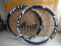ingrosso carbonio logo-Più nuovo wheelset della bicicletta del carbonio della bici della strada del cerchione di FFWD 700C 50mm con il logo bianco della superficie del freno della lega Trasporto libero