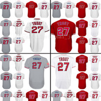 Wholesale Red Base - Men's 27 Mike Trout Baseball Jerseys Mike Trout Flex Cool Base Jersey Embroidery and 100% Stitched