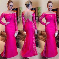 Wholesale Hot Pink Mermaid - 2015 New Arrival Square Scoop Neck Long Sleeve See Through Hot Pink Satin And Lace Mermaid Long Prom Evening Dresses 2015