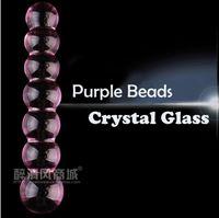 Wholesale Transparent Anal Beads - New female big large magic transparent purple crystal glass penis dick stick anal plug butt stimulator beads sex toys for women