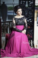 Wholesale Images For Chiffon Dresses - Vestidos de baile Longa Arabic Prom Dresses A Line Illusion Jewel Neck Lace Beaded Long Sleeves Chiffon Christmas Party Gowns Cheap For Sale