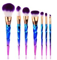 Wholesale Gourd Brush - HOT Mermaid Unicorn screw Diamonds gourd Makeup Brushes Sets 3D Colorful Professional Brushes Foundation Blush Cosmetic Brush Set Kit Tool