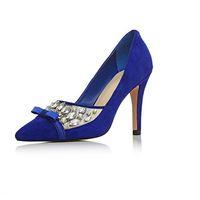 olgun kadınlar yüksek topuklu toptan satış-Kraliyet Mavi Süet Kadın Elbise Ayakkabı Sivri Burun Bayanlar Pompaları Stilettos Yüksek topuklu Slip-on Olgun OL Ayakkabı Bayanlar Için 2016 Artı Boyutu