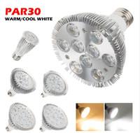 Wholesale E27 Warm 14w - Super bright Epistar High Power 6W 14W 18W 24W 30W 36W Par30 LED Spotlight Lamp E27 85-265V Cool White   Warm White Bombilla Light