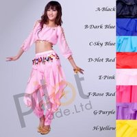 Wholesale Bollywood Top - Bollywood Indian Dress Belly Dance Costume Suit Long Sleeve Lantern Top & Tribal Gold Wavy Harem Pants 8 Colors