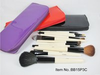 Wholesale Cosmetic Brush Leather Bag - FREE SHIPPING HOT NEW Makeup Brushes BB 15 piece Professional Brush sets black  Purple  red brush + Leather cosmetic bag (50 set lot)
