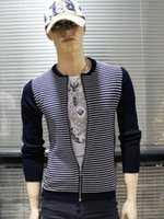 FG1509 Casual Cardigan Stripes Sweater Jacket Men 2015 Printemps Ailes Mode Imprimé Noir tricotée à manches longues Pull Plus Size M-XXXL