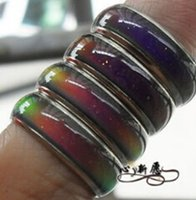 Wholesale Emotion Fashion - 100pcs fashion mood ring with box changing colors stainless steel mix size 16 17 18 19 20 your temperature reveal your inner emotion