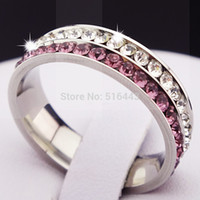 Wholesale Mens Comfort Fit Ring - 10pcs 316L Stainless Steel Full Pink Clear CZ Comfort Fit Engagement Wedding Silver Band Ring Women Mens Bridal Jewelry A167