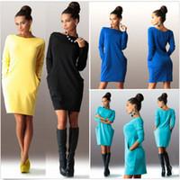 Wholesale Long Sleeve Tunic Top Wholesale - Wholesale-2015 New Women Winter Bodycon Sweater Tunic Mini Dress Casual Long Sleeve Hoodies Jumper Top Dress Pockets Vestidos de festa
