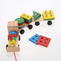 jogos empilhados venda por atacado-Brinquedo bloco de madeira do bebê da criança empilhamento bloco de brinquedo divertido jogo de tabuleiro bloco de brinquedo de madeira brinquedo educativo para presente das crianças