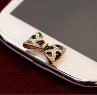 Wholesale Mobile Accesories - Wholesale-Wholesale Fashion Fashion Phone Keypad Accesories Gold Plated Bow Mobile Key Button Stickers SP200