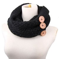 Invierno Cálido Knit Infinity Scarf Brand Mujeres de lujo Solid Color Crochet Pattern Basic Chunky Big Button Knit Snood Ring Bufanda