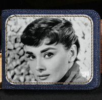 Wholesale Beautiful Note Cards - Audrey Hepburn wallet Beautiful woman purse Beauty sport short cash note case Money notecase Leather burse bag Card holders