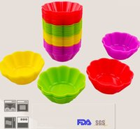 Wholesale Flower Modelling Tools - New 7CM Flower Shape Silicone Muffin Cases Cake Cupcake Platinum silicone Nonstick Liner Baking Mold 4colors choose freely