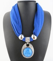 Wholesale Diamond Jewellery Wholesalers - New Listing Bib Necklace Scarves Jewellery Pendant Scarf Wraps 57*40cm Multi Colored Resin With Diamond Alloy Jewelry Attached Unique Scarf