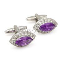 Wholesale Oval Cufflinks - Oval Purple Crystals Amethyst CZ Cuff Links Men Suit Cufflink Luxury High Quality Wholesale cf910017