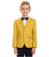 ingrosso abiti gialli per bambini-Ragazzi belli abiti gialli Abiti formali per bambini Bambini Festa di compleanno Prom Boy Flower boys suits 2 Pezzi (Jacket + Pants)