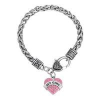 Wholesale Unique Bracelet Designs - Unique Special Design Rhodium Plated Zinc Alloy Mixcolor Crystal Heart Alphabet MY GIRL Pendant Bracelets For Woman Jewelry Gifts