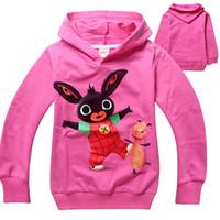ingrosso felpe con cappuccio-Commercio all'ingrosso libero di trasporto primavera e autunno Bing Bunny abbigliamento in cotone per bambini ragazzi e ragazze con cappuccio maglione 6 pz