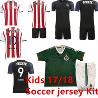 Soccer Short Cotton Kids Kits Mexico Club Camiseta de futebol 2017 Chivas  de Guadalajara Youth Boy 9c95375e3c587