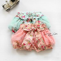 Wholesale Kids Blue Bubble Skirt - 2016 Summer Baby Girls Toddlers Kids Floral Big Butterfly Bow knot Lace Gauze Bubble Skirt Kids Tutu Shorts Elastic Short Pant