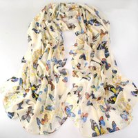 Wholesale Spring Infinity Scarves - new fashion style butterfly Scarves women's scarf long shawl spring silk pashmina chiffon infinity scarf
