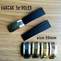 relojes de banda blanda al por mayor-Correa de tamaño 20 mm apta para ROLEX SUB / GMT / YM. Nuevo y suave accesorio de reloj de banda impermeable y resistente con cierre de acero original plateado.