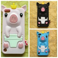3D Stereo Crown Pig Coque Pour Ipod Touch 6 6G 6ème 6gen 5 5G 5th 5gen Touch6 Touch5 Soft Silicone Lovely Cute Cartoon caoutchouc Housse de protection de la peau