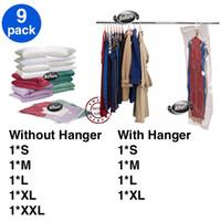 Wholesale Eco Clothes Hanger - FREE SHIPPING! 9 pcs of (50x60, 60x80, 68x98, 70x100, 80x120, 90x60, 110x60, 105x70 and 145x70) Vacuum bag with without Hanger