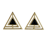Wholesale Triangle Shaped Earrings Studs - Min Order $5 New Arrival Black Enamel And Hollow Out Gold Color Alloy Triangle Shape Stud Earring for Women