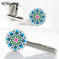 CT - 0014 New Polish Folk Clips Cufflinks Set Polish Folk Tie Clip Art Foto Cufflink estilo étnico punhos Presentes Atacado