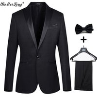 Wholesale Tuxedo White Black Stripes - 2016 Wedding Suits For Man Fashion Tuxedos Tailcoat Men Suit With Pants Male Groom Jacket+Pant+Tie